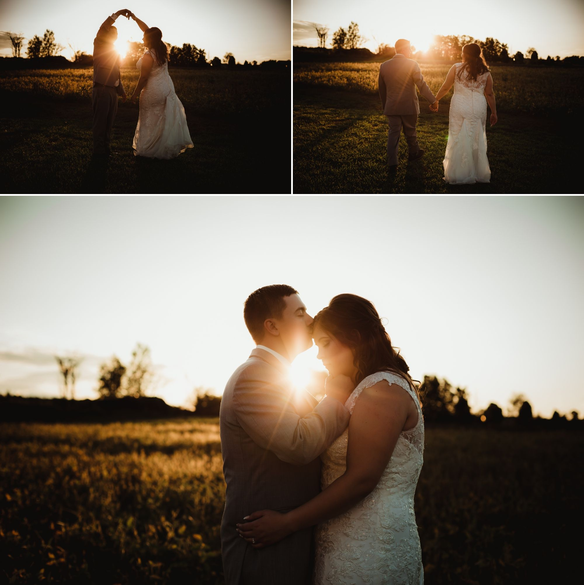 Collage of the bride and groom embracing and holding hands in front of a field with golden sunset light behind them.
