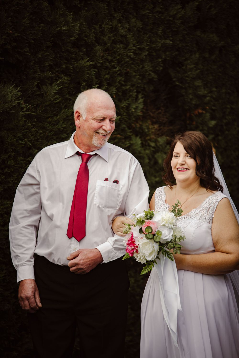 bride and father outdoor summer wedding melbourne silk flowers plus size bride