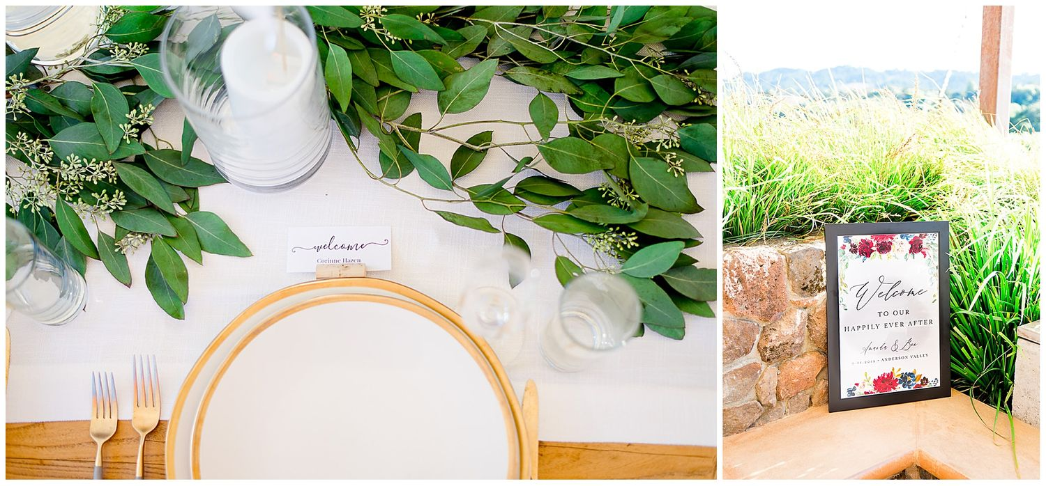 gold and white plates set up with eucalyptus for outdoor wedding at Pennyroyal Farm