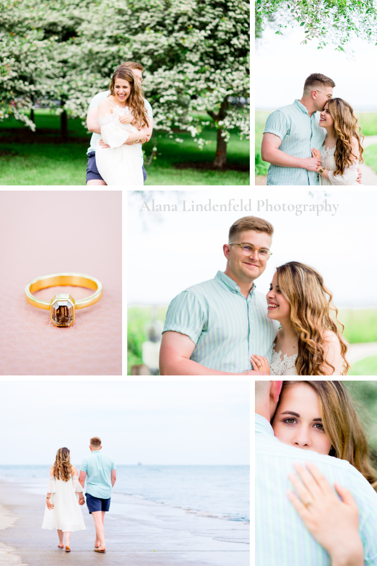 collage of pictures from a Chicago Sunrise Engagement session at Montrose Harbor in the summer