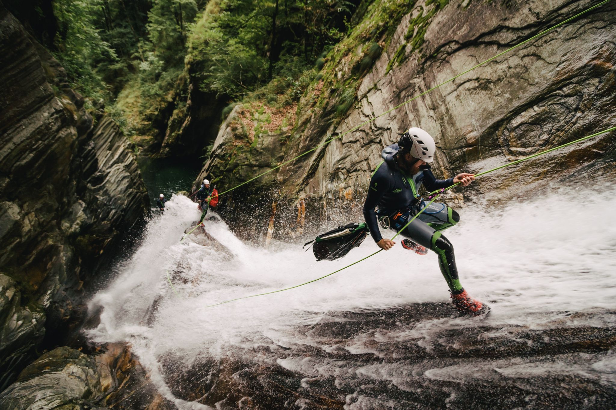 canyoning art print ticino switzerland waterfall
