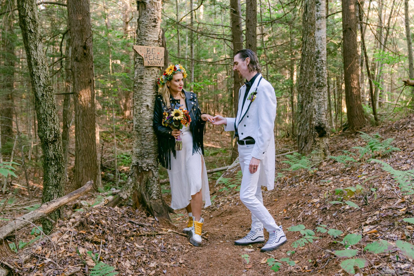 Bride and Groom in Vermont Forest