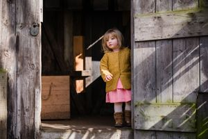 photograph of girl in shepherds hut
