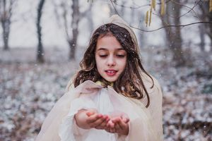 portrait of girl in the snow
