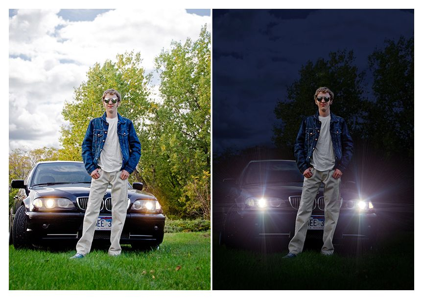 before & after of heavily edited and manipulated portrait photograph