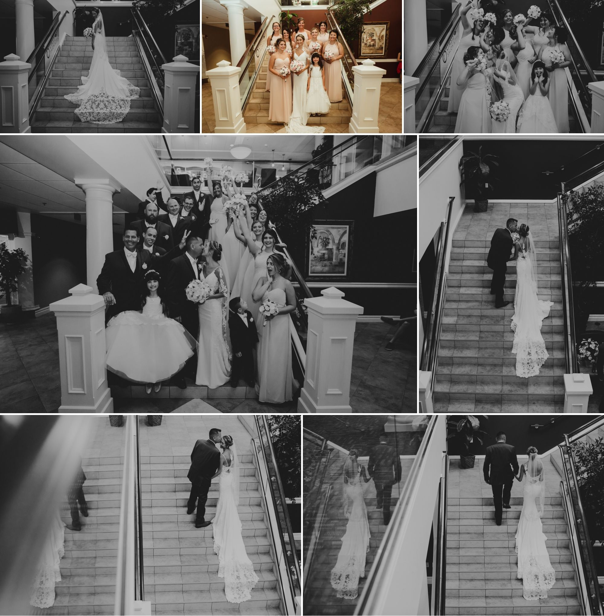 Photos of the wedding party on stairs inside of the hotel.