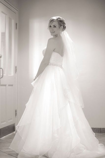 bride in her wedding gown black and white