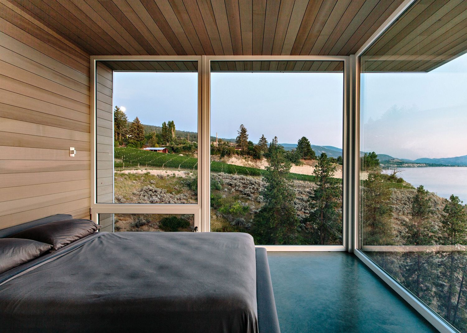 bedroom with a vineyard view
