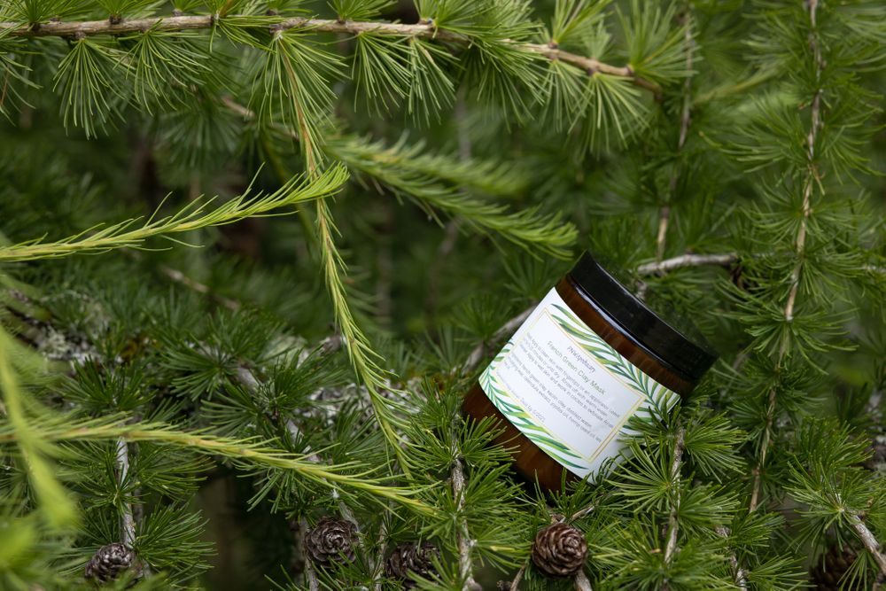 PNW Apothecary french green clay mask homemade product in tree for small business