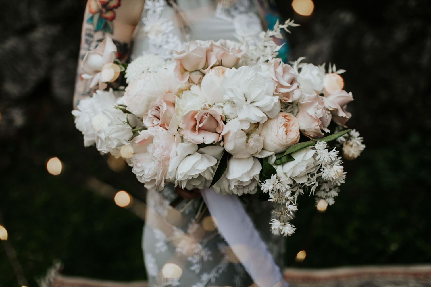 white and pink peonies wedding bouquet