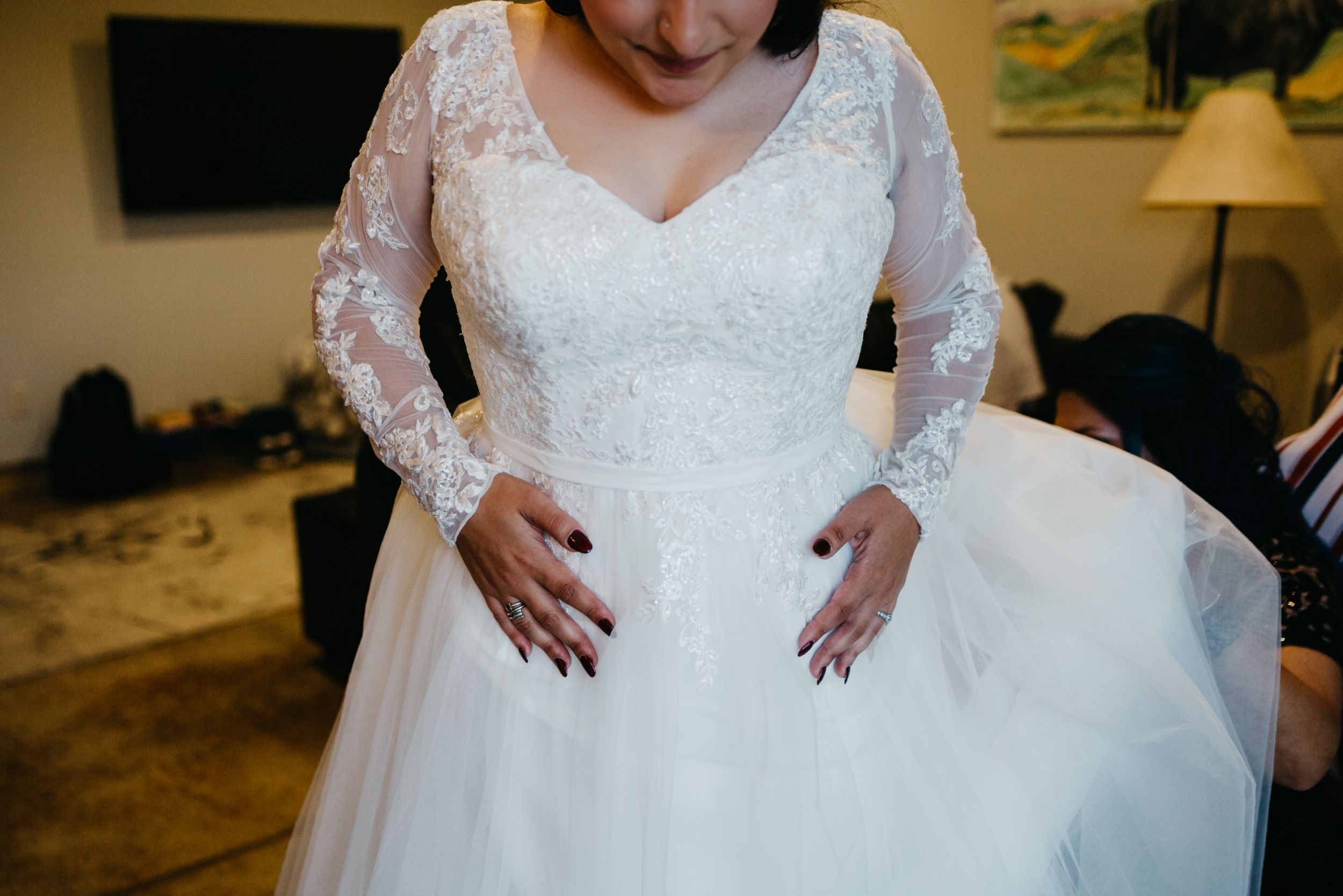 Lace Wedding Dress Up Close Colorado