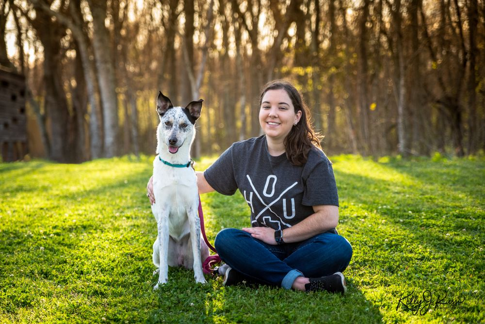 Australian cattle dog portrait with owner Fort Bend County Texas