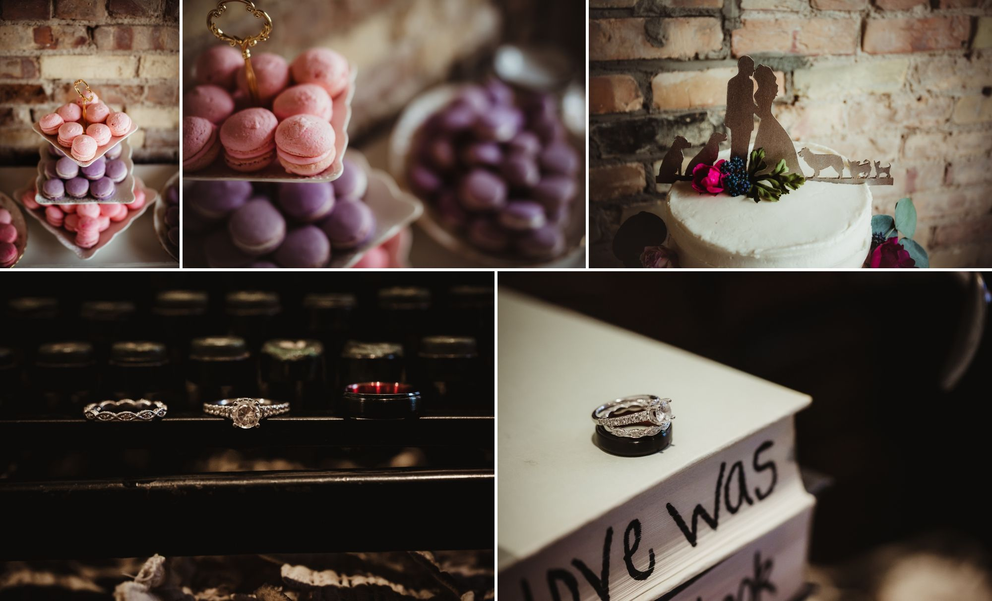 Collage of desserts, cake topper, and rings.