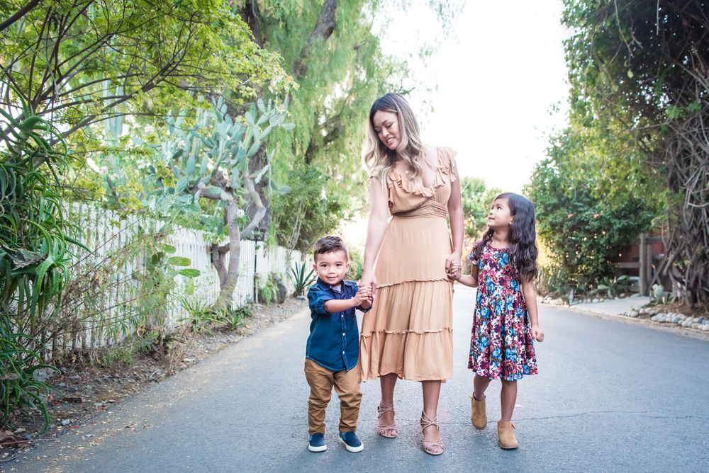 Photo of a family on a street in San Juan Capistrano, CA