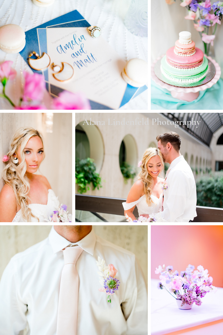 collage of spring pink and blue wedding at The Center Cincinnati