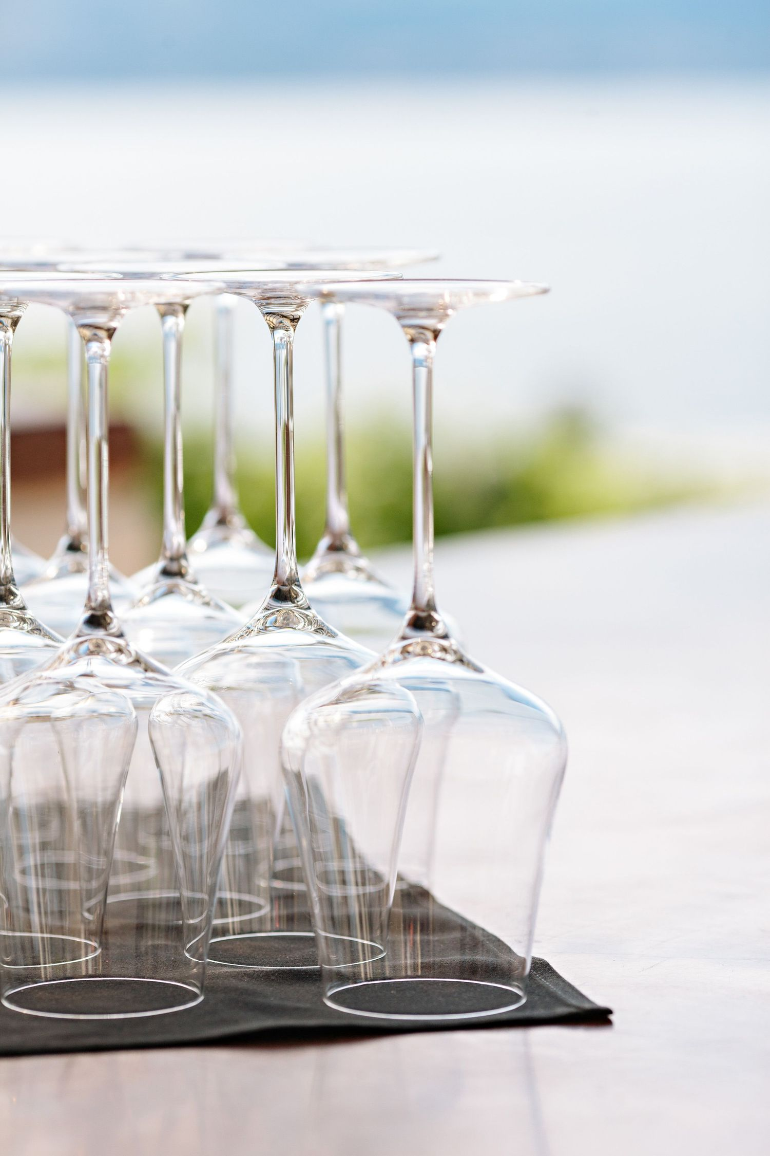 wine glasses displayed for wedding guest