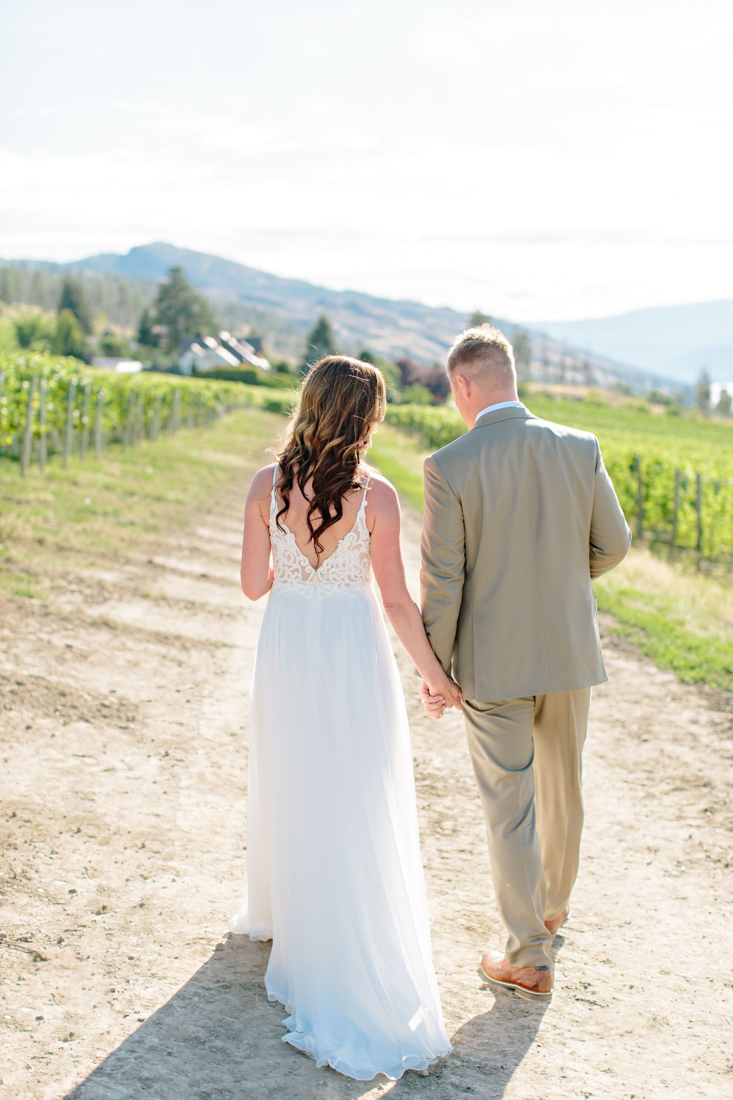 bride and groom walking in vineyard at CedarCreek Winery
