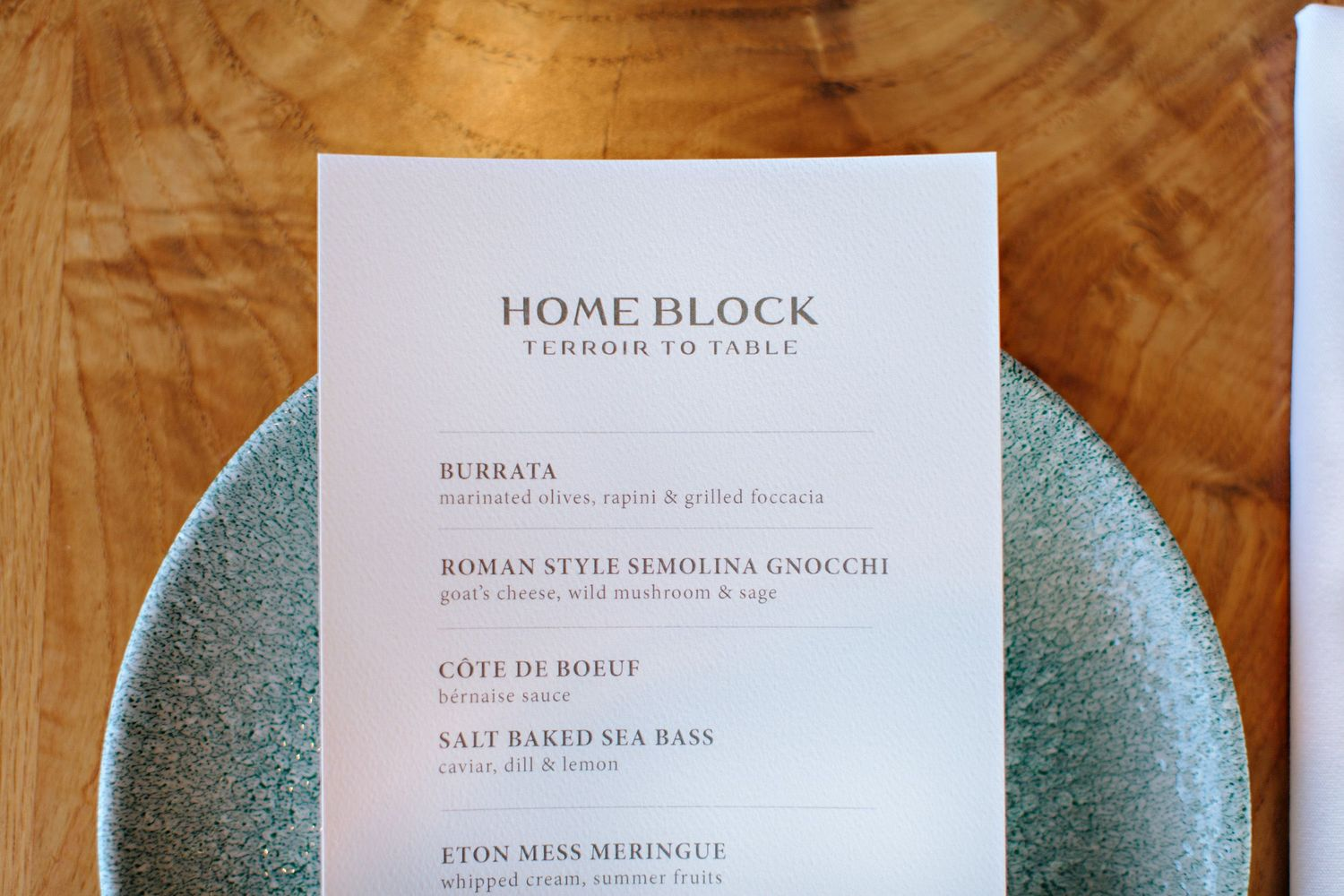 Home Block menu