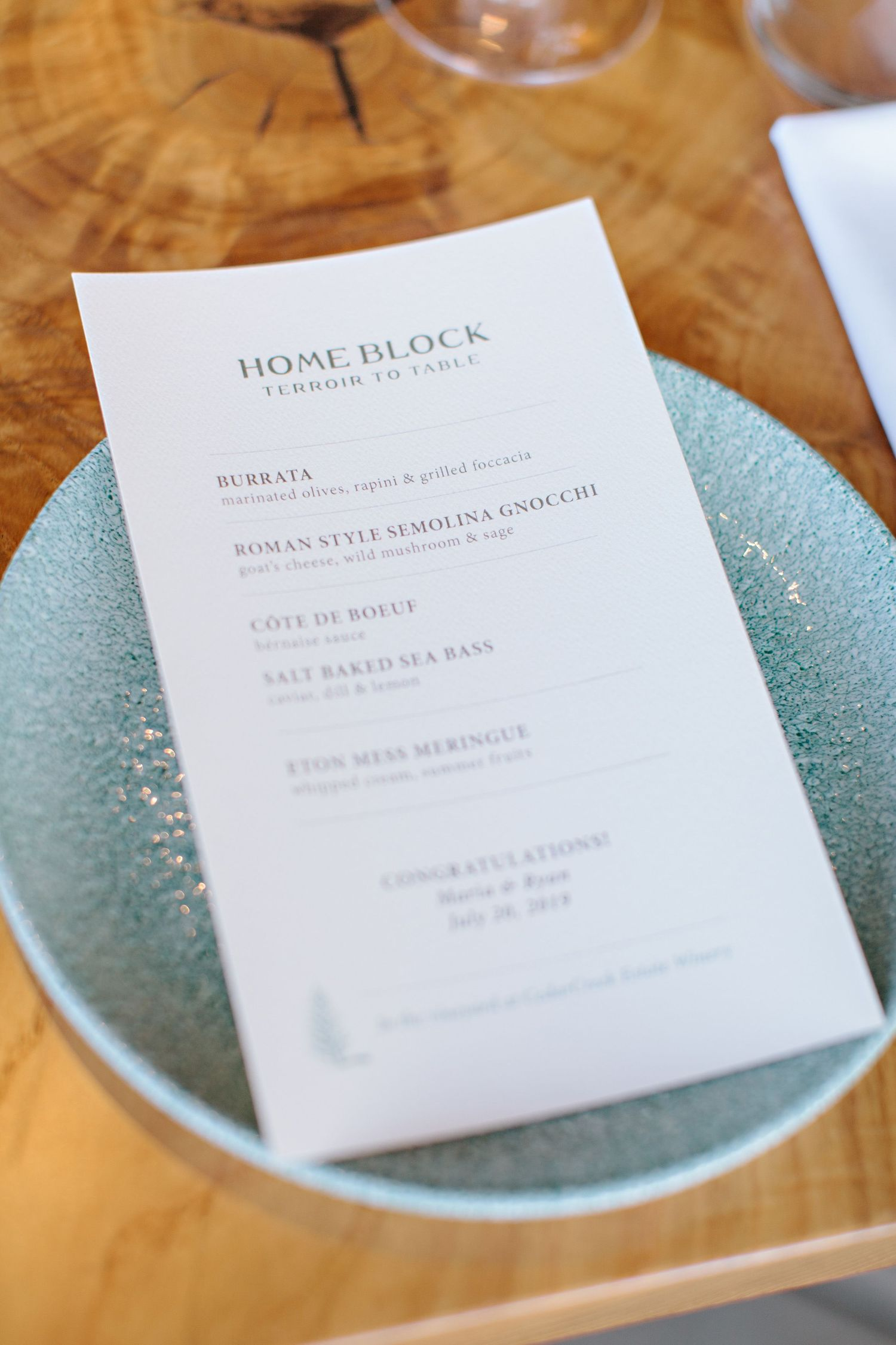 Home Block wedding menu