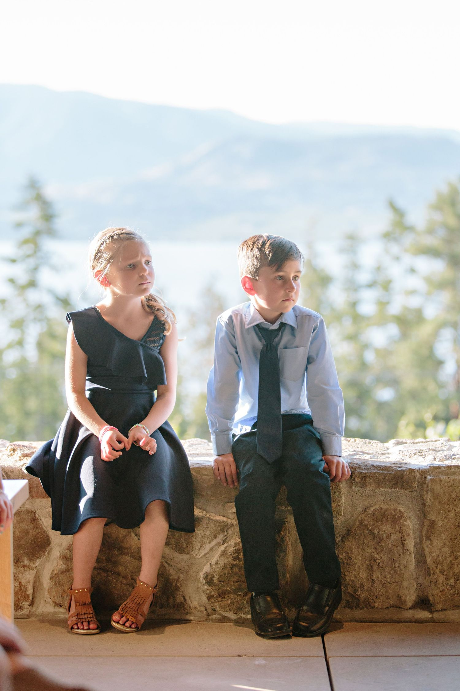 kids listening to wedding speech