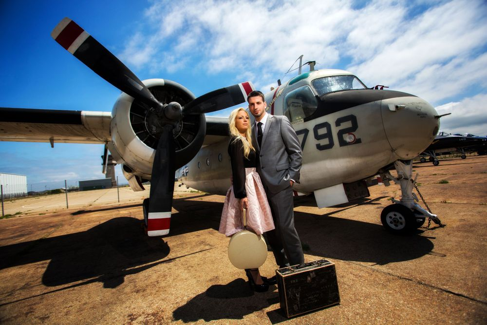 Gorgeous engagement photos done at the Quonset Airport Museum in Rhode Island