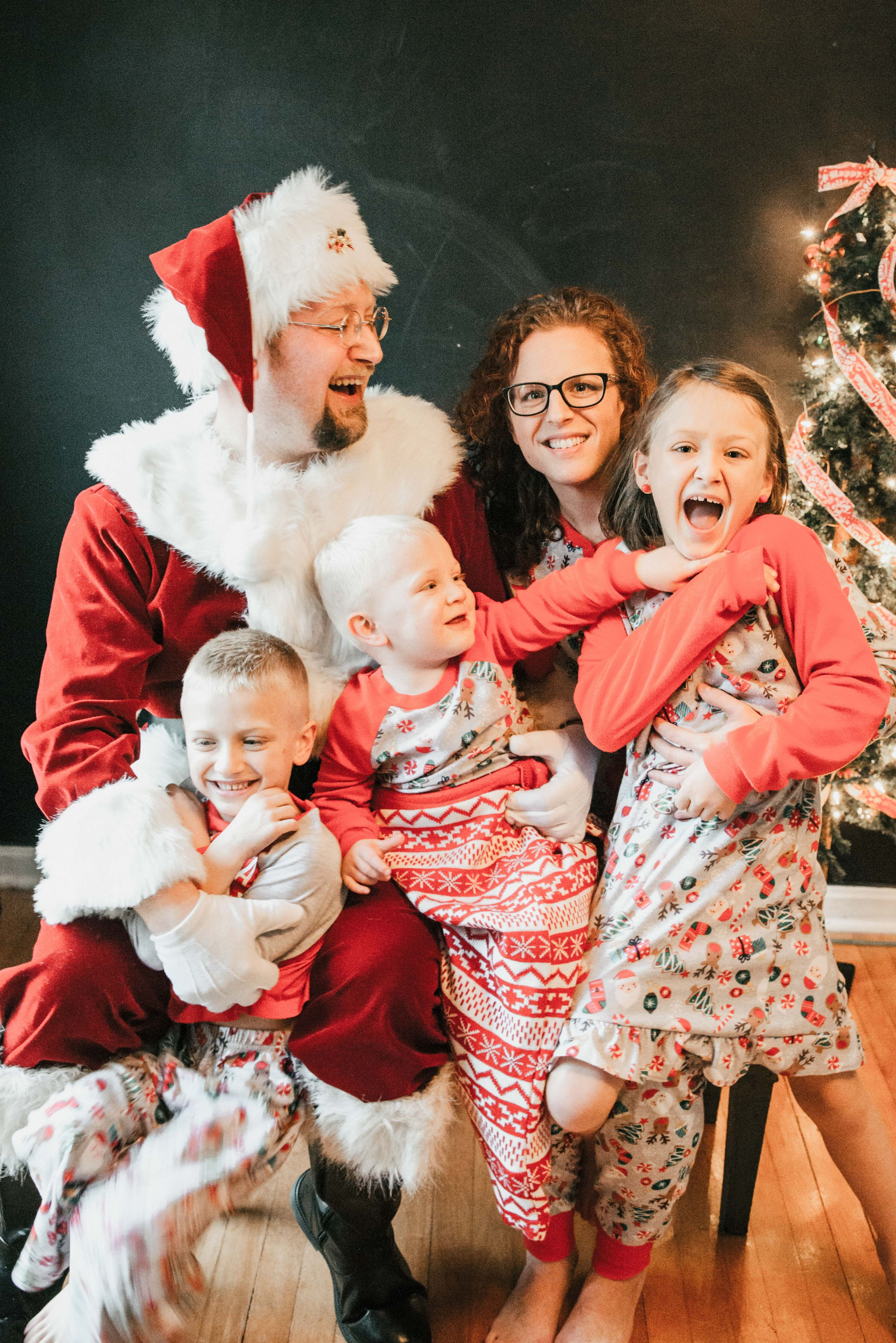 family laughing in Christmas pajamas, Shiny Penny Studios, Cleveland
