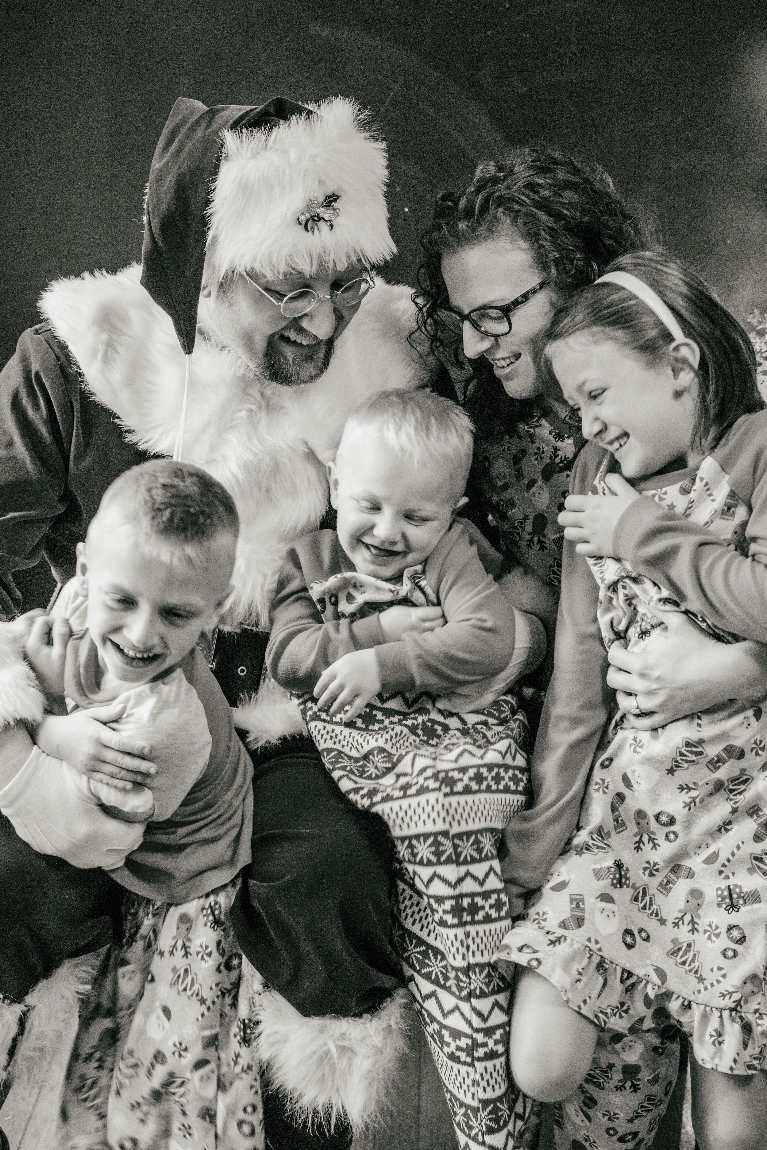 family in Christmas pajamas, Shiny Penny Studios, Cleveland