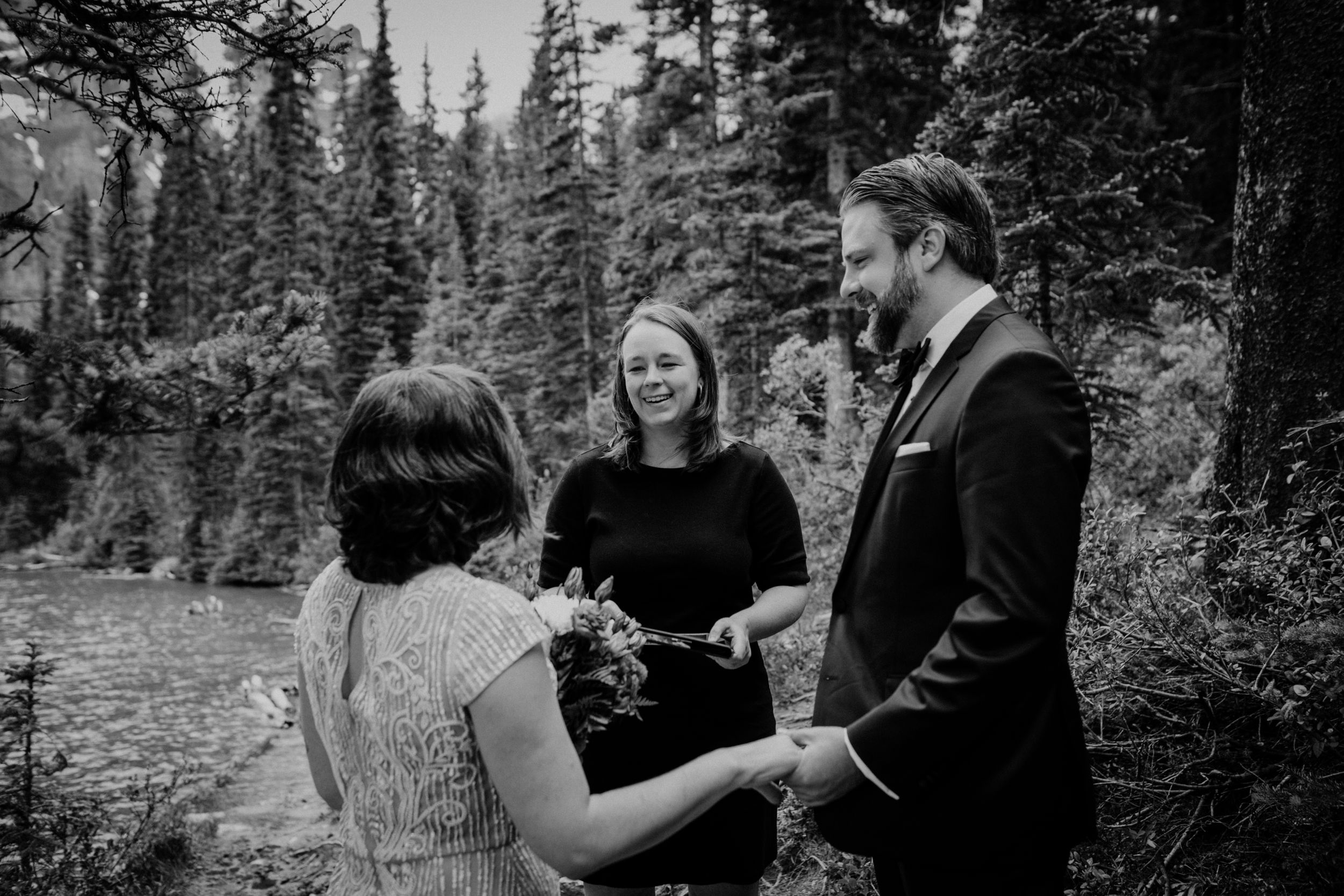 Moraine Lake Elopement Photographer Young Hip & Married
