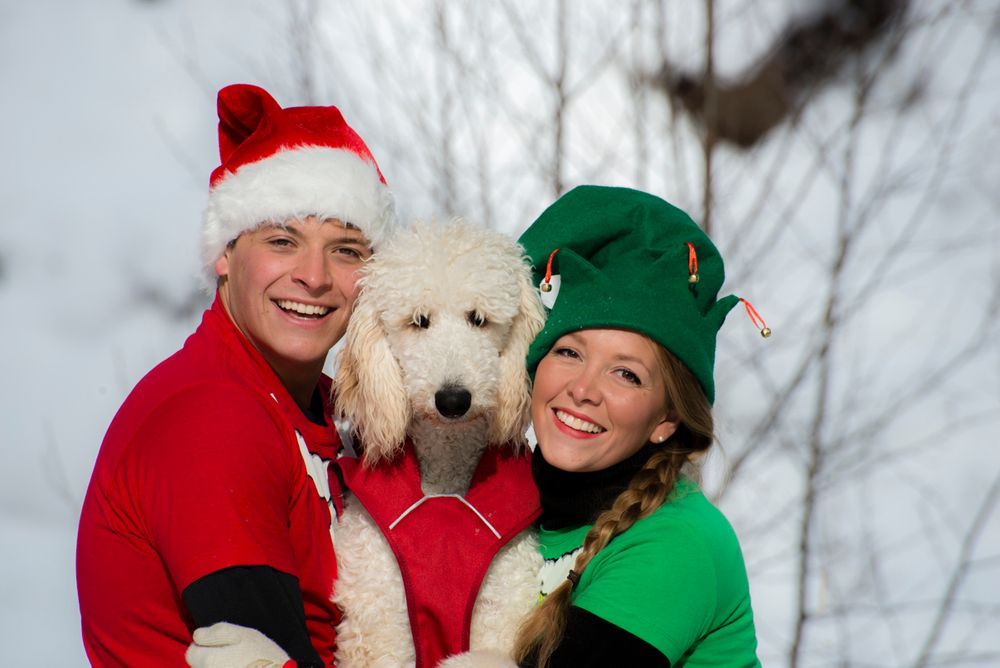Couple and their white poodle in Santa and Christmas elf costumes in winter