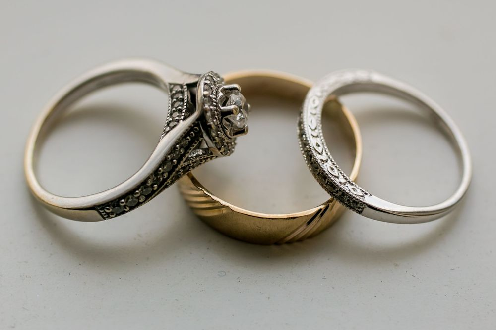 Alex and and Mike's engagement and wedding rings before a wedding ceremony at Incarnation Lutheran Church in Columbia, S
