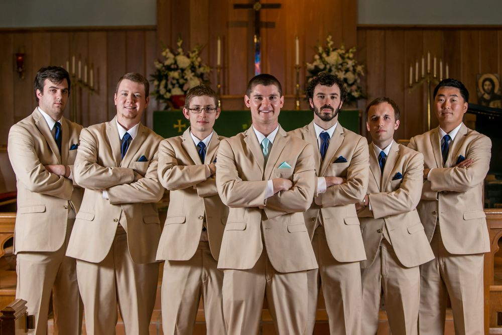 Mike and his groomsmen pose before their wedding ceremony at Incarnation Lutheran Church in Columbia, SC