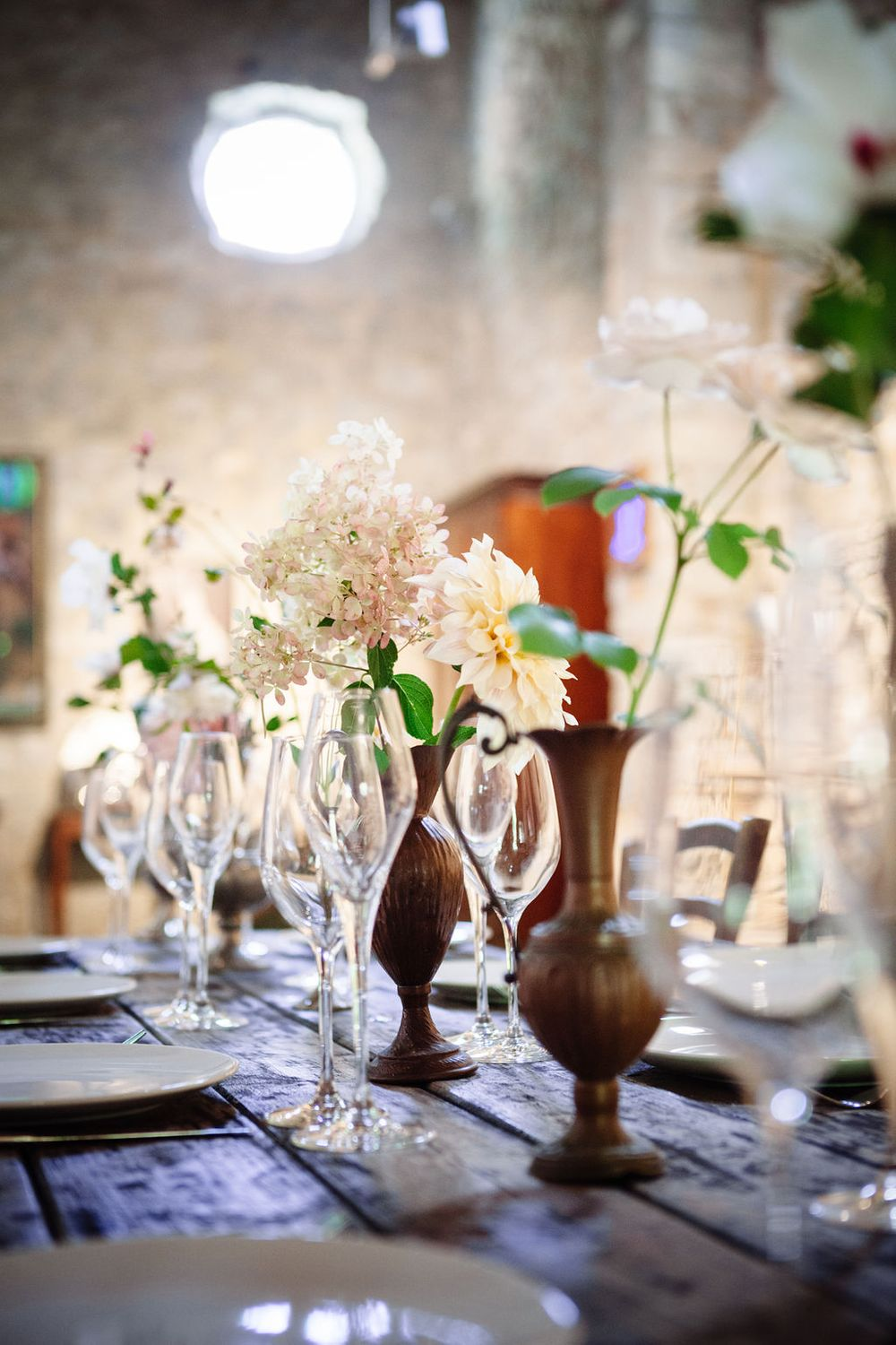 tall Roman jugs for floral arrangements wedding inspiration Italy