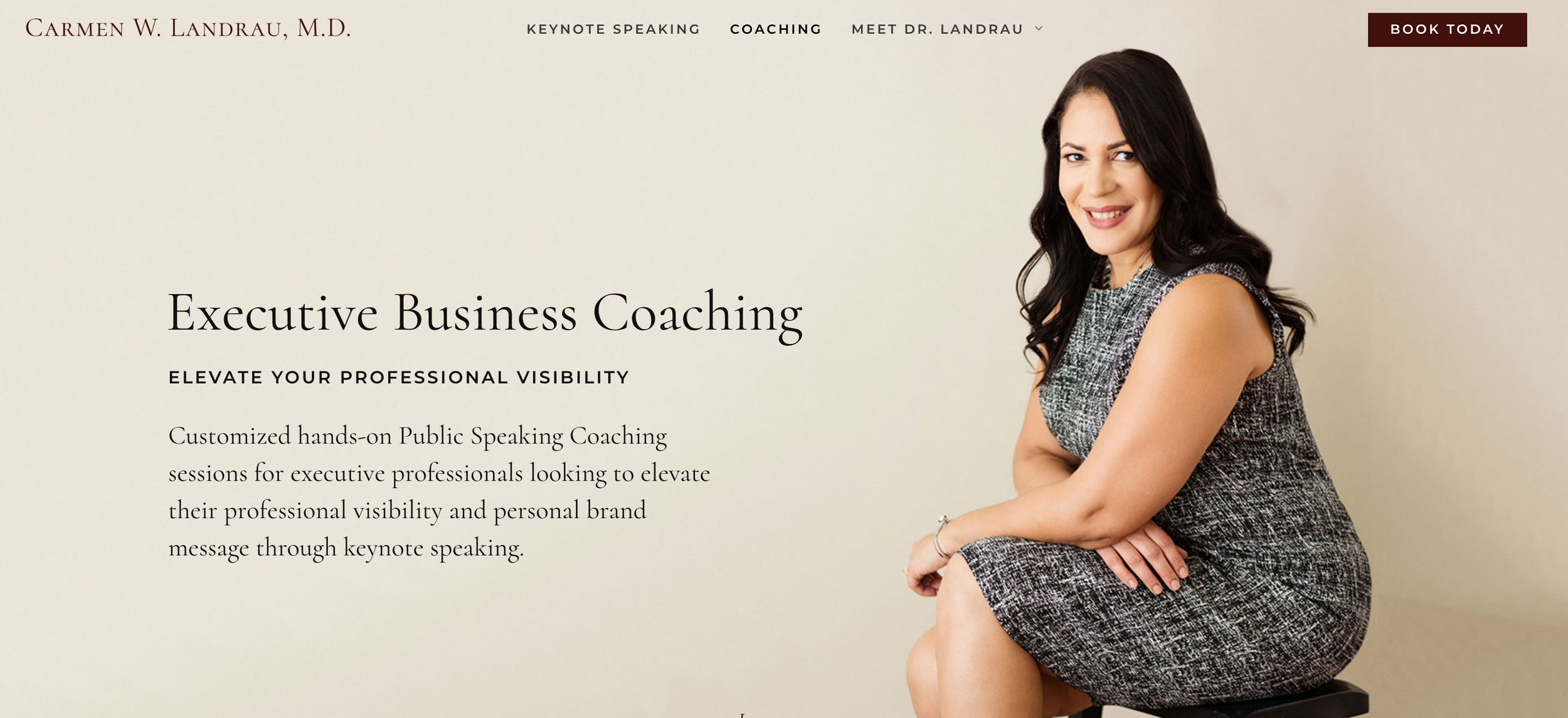 Website header with personal branding portrait