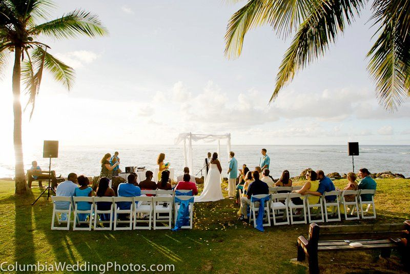 A beach wedding at Embassy Suites in Dorado, Puerto Rico