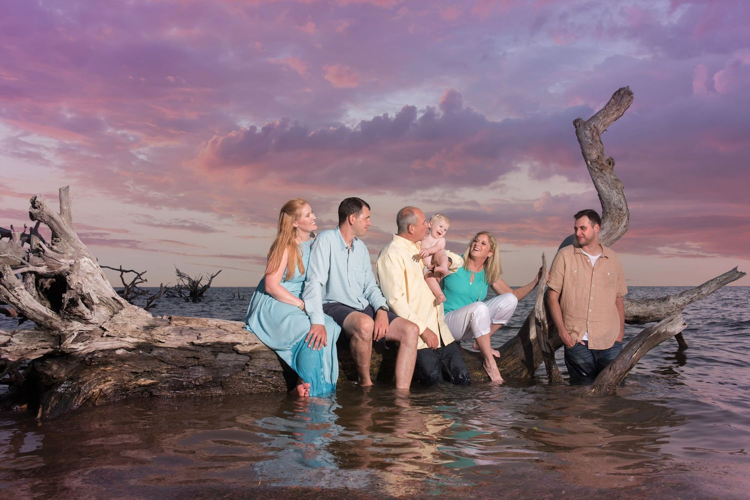 Multi Generational Family Portrait Sunset Cedar Key Florida