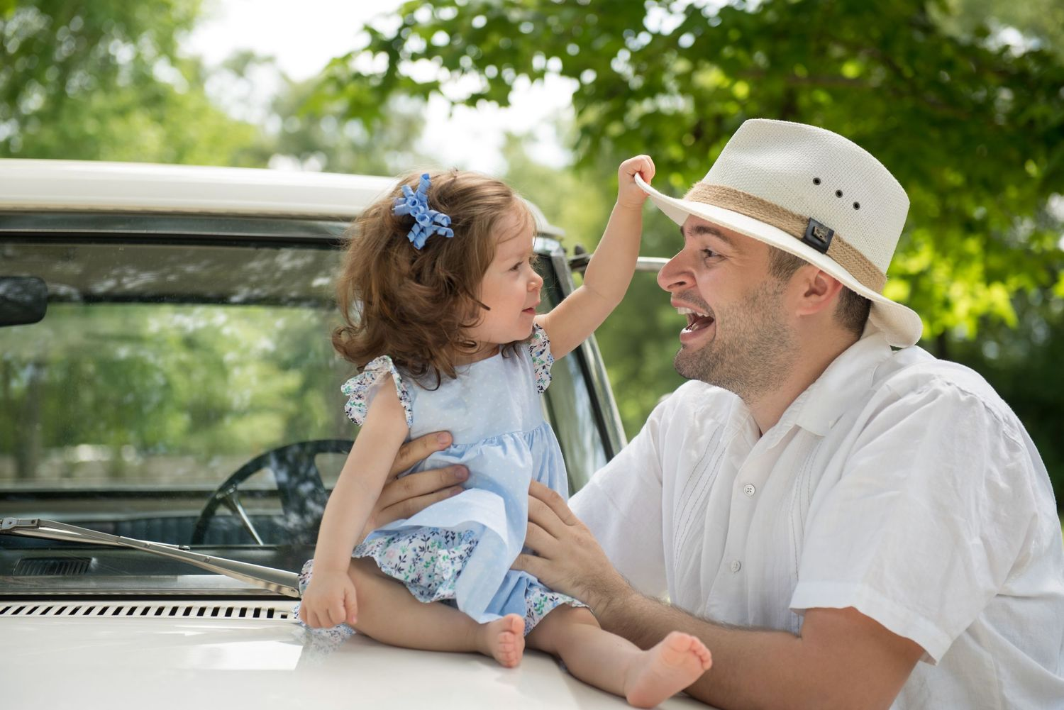 Father Daughter Photography Portrait with Vintage Truck and Hats