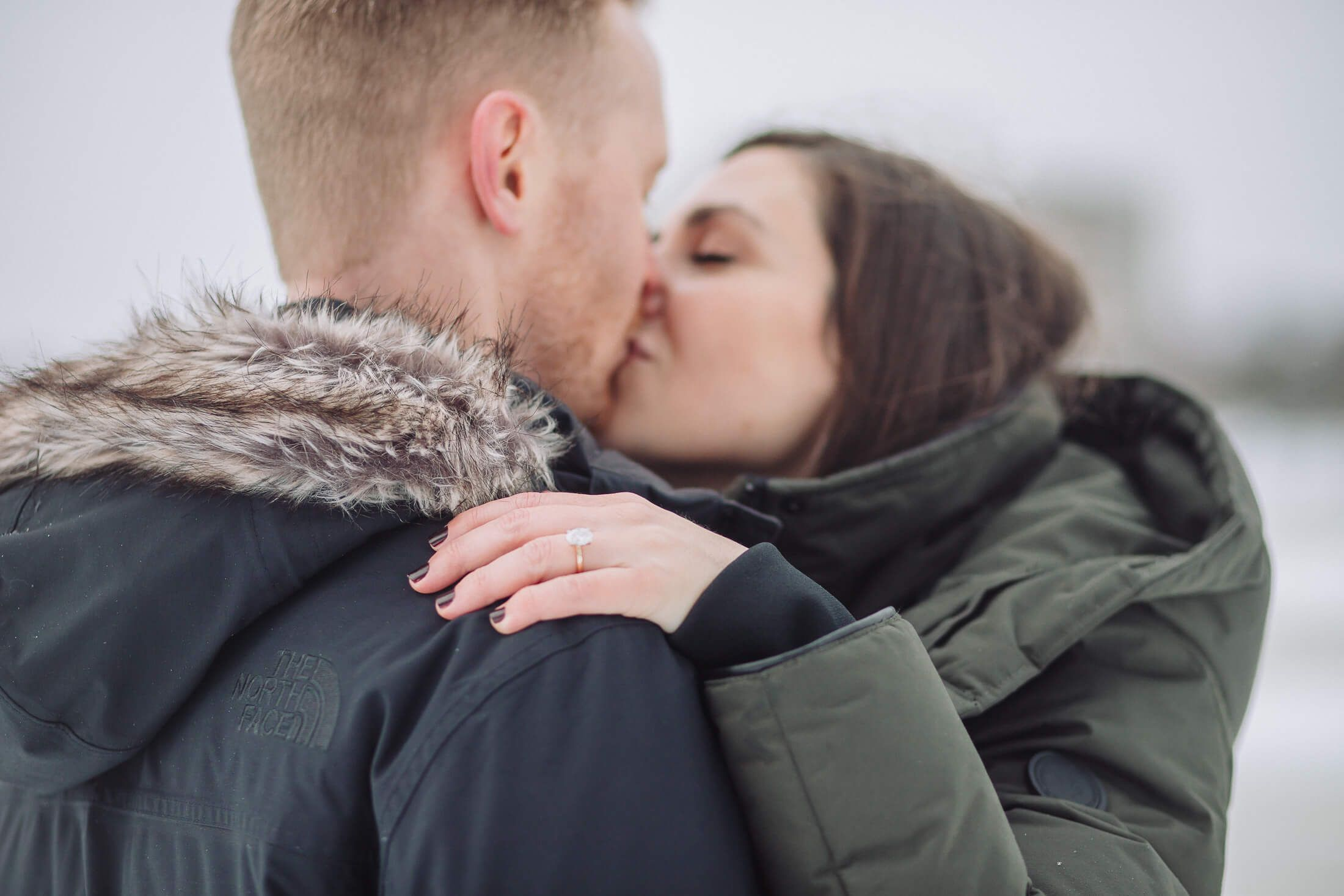 Snow winter engagement session at Cooper River Park in Collingswood, NJ.