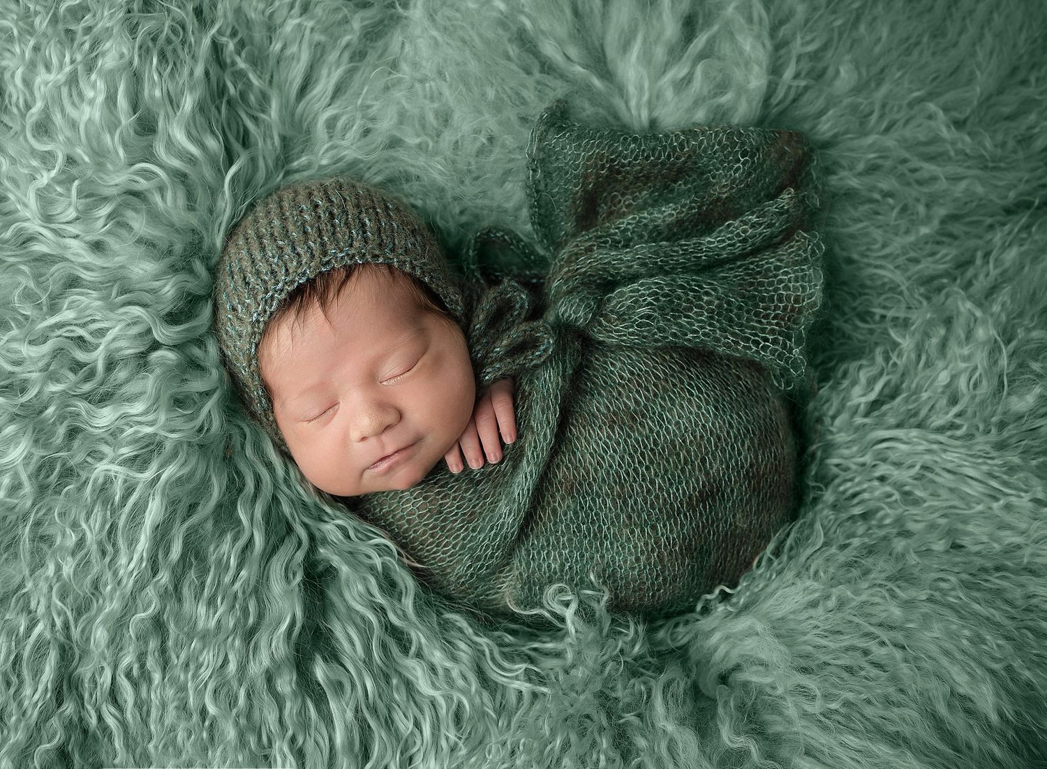 Griffin's Newborn Session with Austin Newborn Photography fresh green backdrop fur and wrap