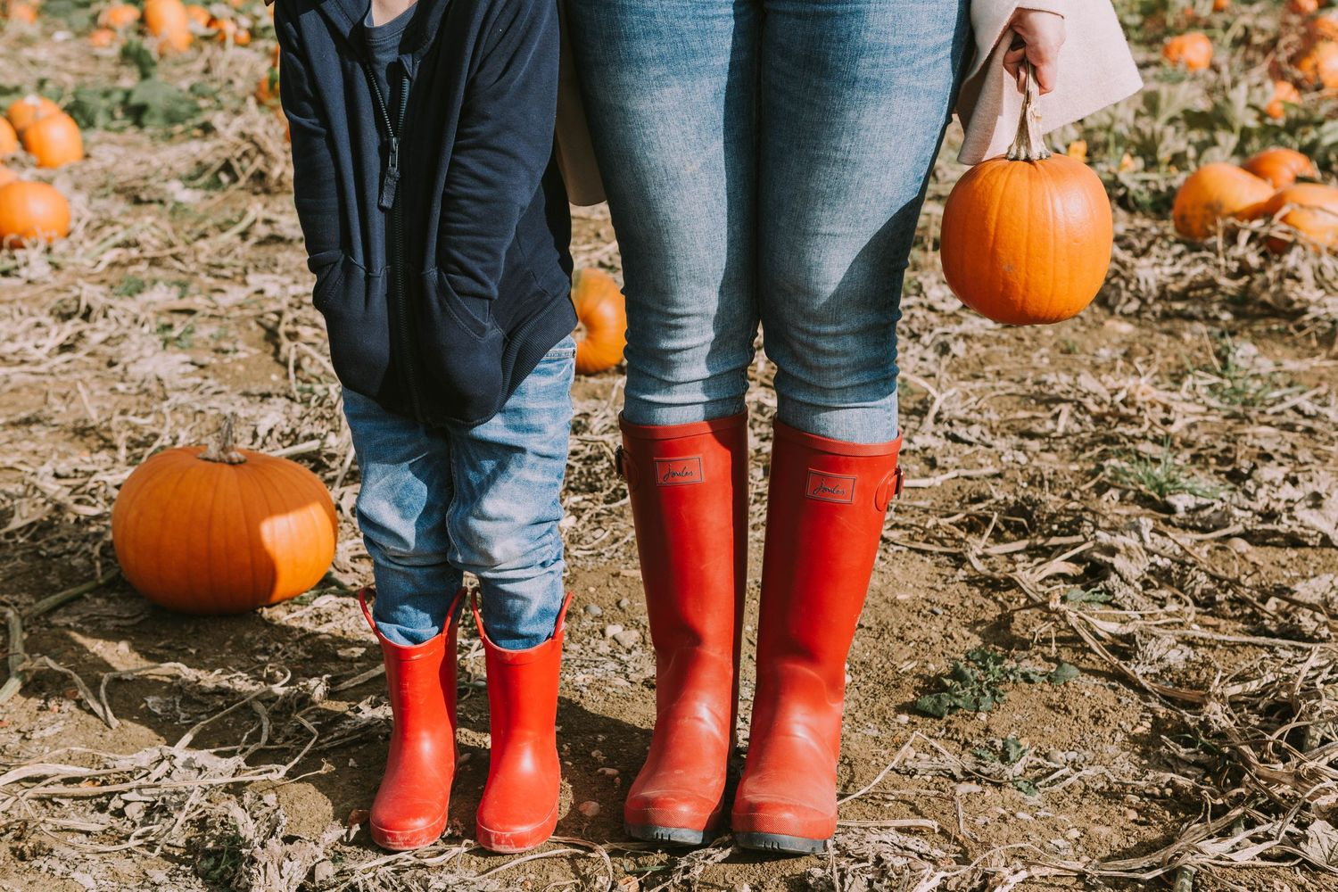 red wellies blue jeans orange pumpkins