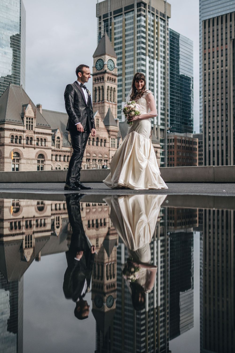 toronto city sky line wedding photo