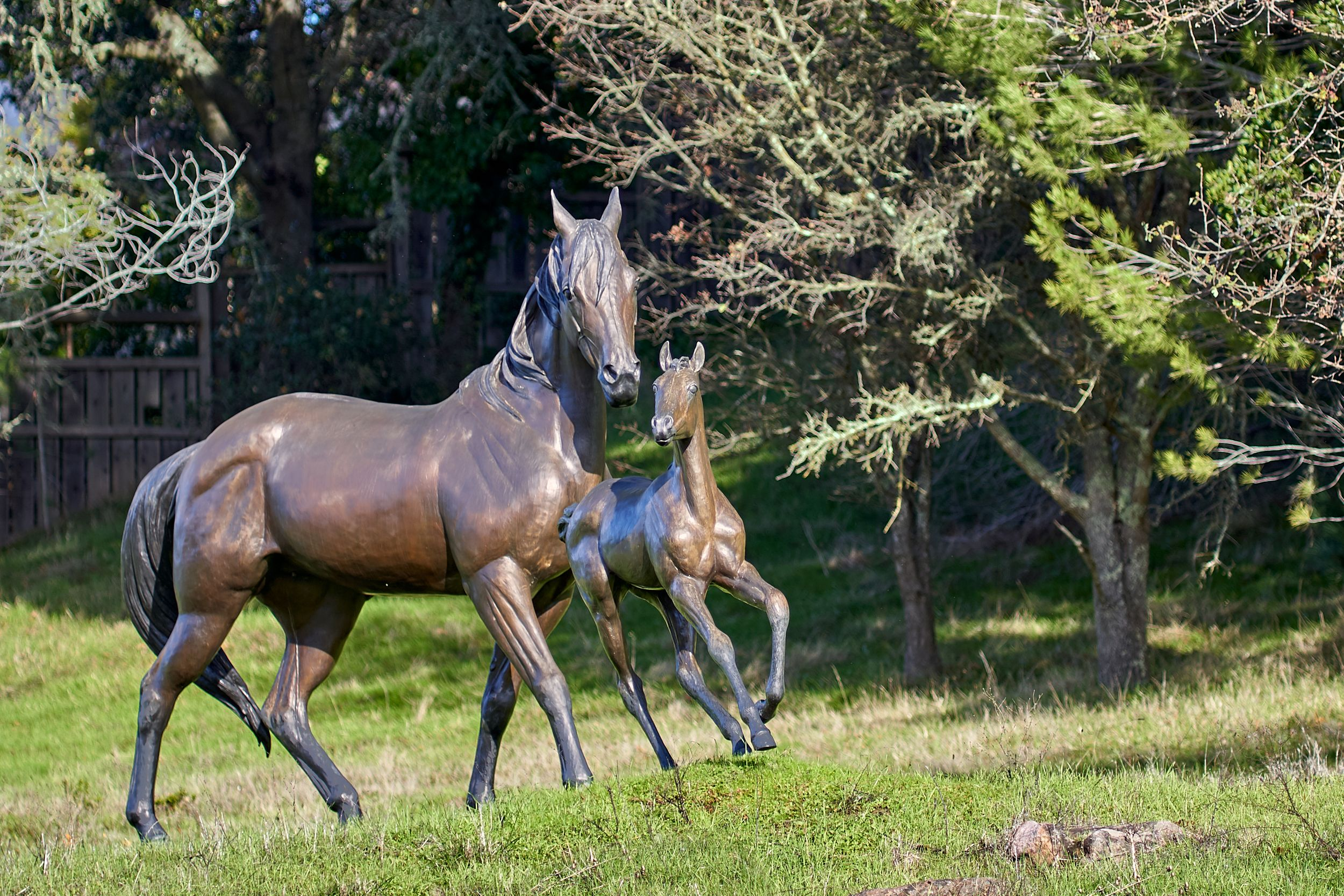 Mare and foal statue in Woodside