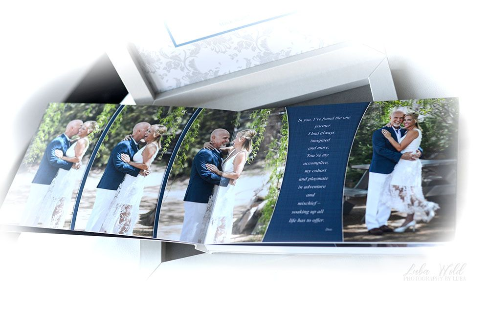 summer wedding book featuring happy bride and groom looking at each other photographer luba wold