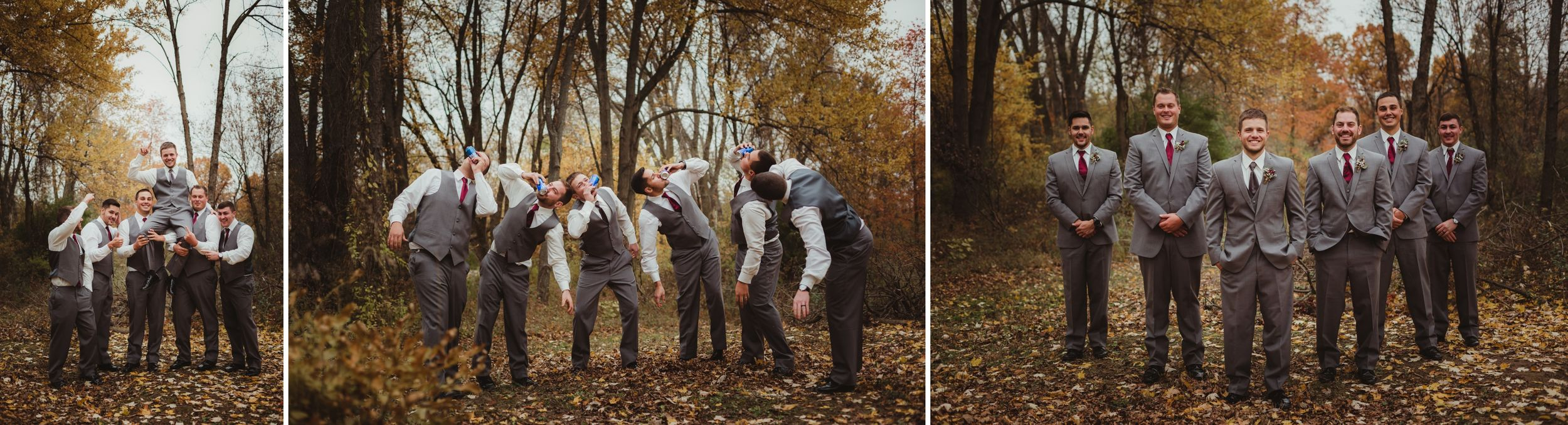 Groomsmen holding groom then drinking beer then standing in a line. They wear light grey suits.