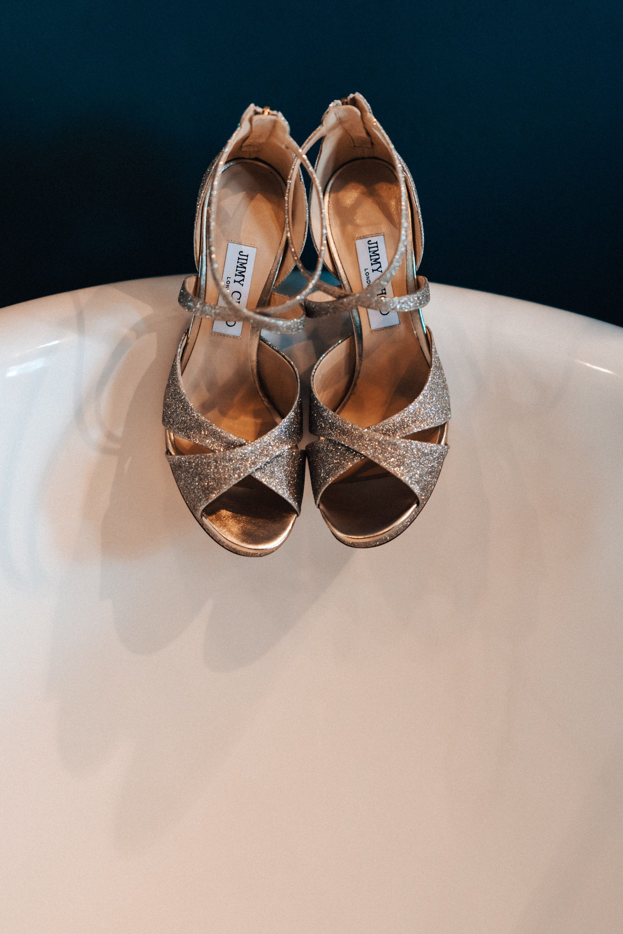Jimmy Choo wedding shoes taken on the bar at 131 Cheltenham