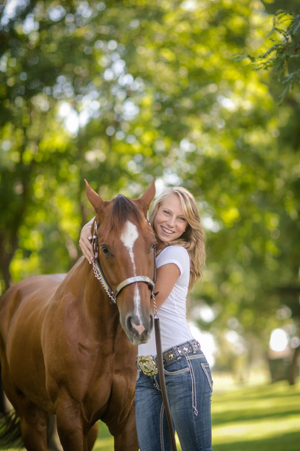senior girl outdoor horse