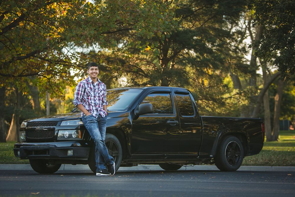 senior boy outdoor fall truck