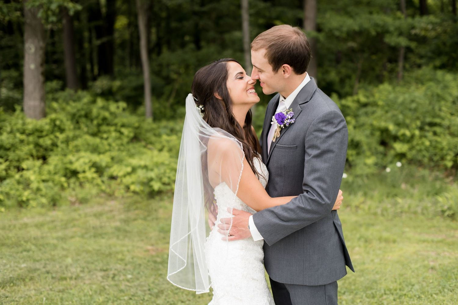 Bride and groom at Laurel Hideaway in Donegal, PA