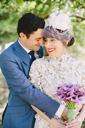 Aaron Snow Photography Oklahoma Wedding Photographer bride groom veil birdcage lace dress red lips Leah Sullivan Ojeda