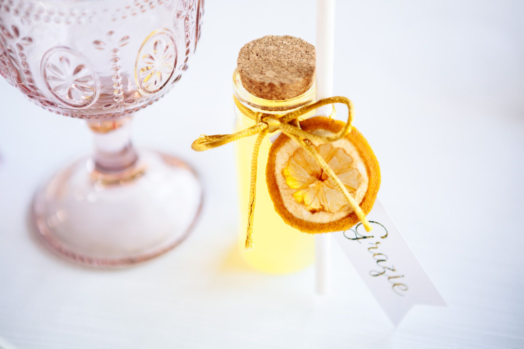 tuscany inspired wedding favours. little diy bottles filled with limoncello