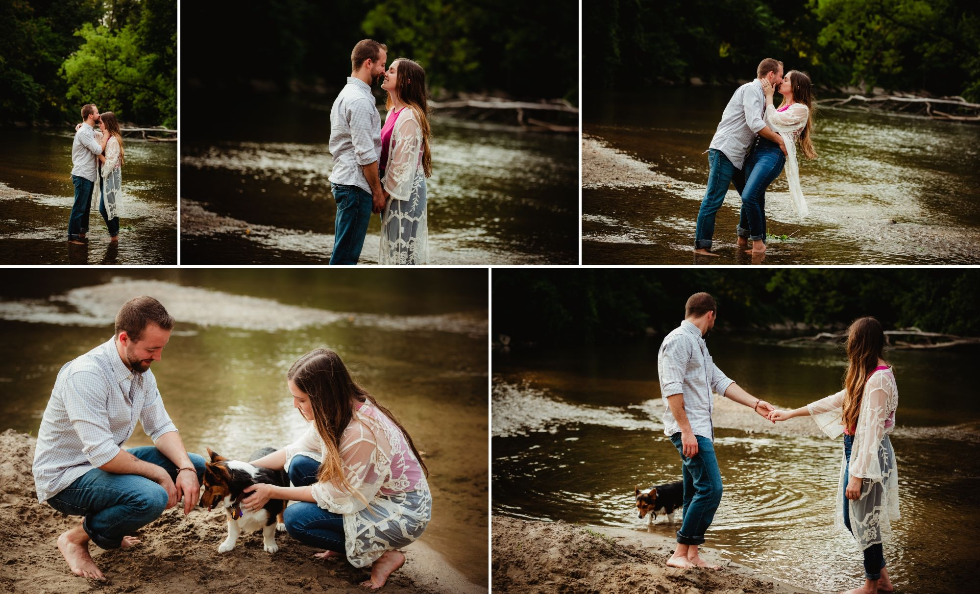 Collage of engaged couple and their corgi in a river.